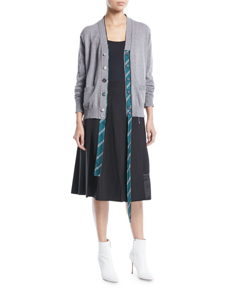 V-Neck Button-Front Wool Cardigan with Tie Placket