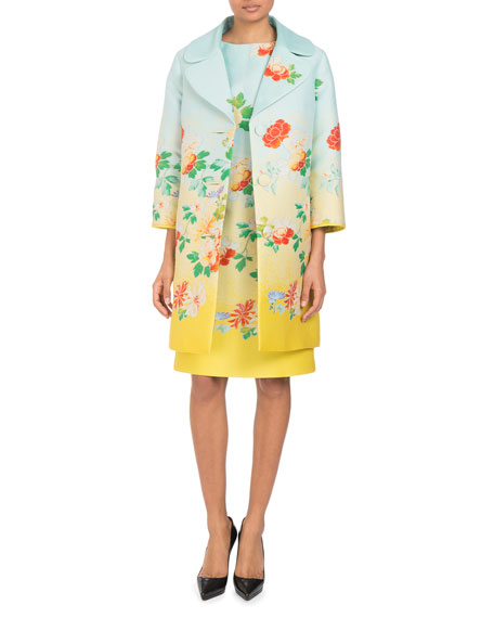 Three-Button Degradé Floral-Jacquard Coat