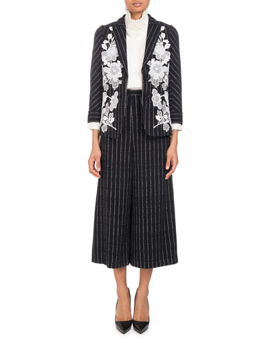 Single-Breasted Pinstripe Blazer with Lace Embroidered Applique and Matching Items