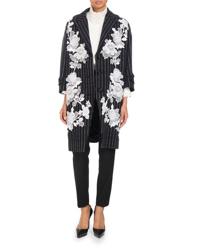 Three-Button Metallic-Pinstripe Coat with Floral Lace Applique  and Matching Items