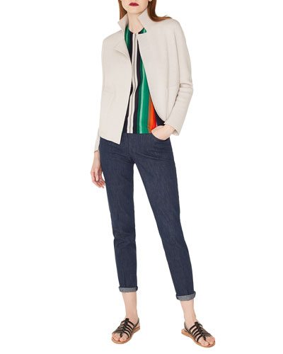 Open-Front Placed-Stripe Double-Face Cashmere-Knit Cardigan  and Matching Items