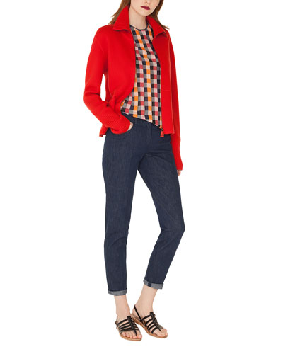 Round-Neck Short-Sleeve Check Silk Knit Pullover  and Matching Items