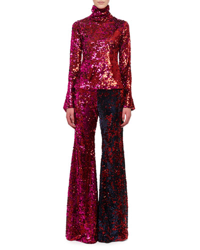 Mock-Neck Long-Sleeve Sequin Top and Matching Items