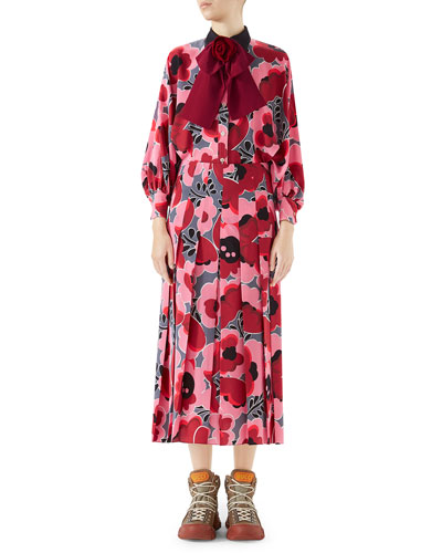 Long-Sleeve Poppies-Print Crepe de Chine Shirt with Bow Detail and Matching Items