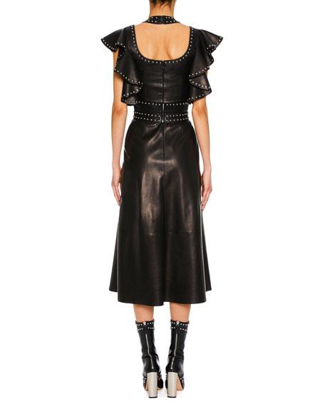 Harness-Neck Sleeveless Studded Lamb Leather Midi Dress