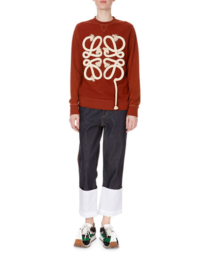 Crewneck Long-Sleeve Rope-Logo Pullover Sweatshirt and Matching Items