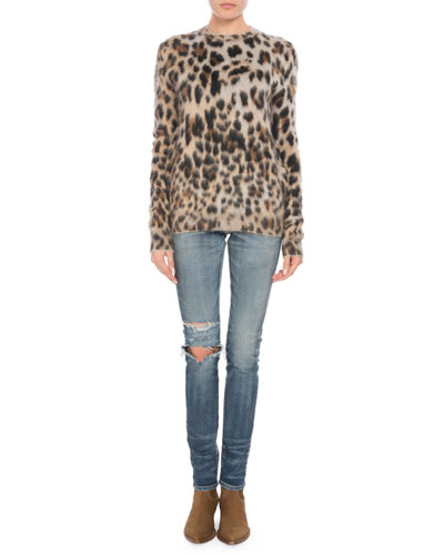 Crewneck Long-Sleeve Leopard-Print Mohair Sweater  and Matching Items