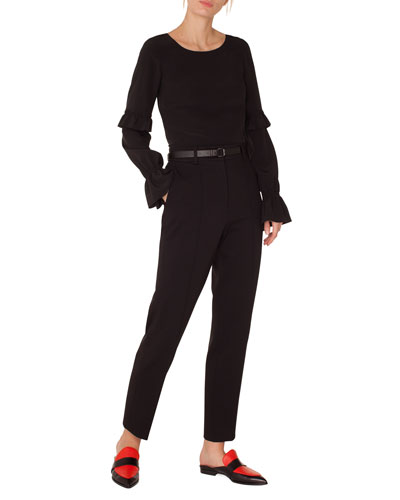 Round-Neck Ruffled-Sleeve Silk Blouse and Matching Items