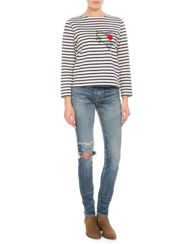 Crewneck Long-Sleeve Striped Knit Top w/ Serpent Heart & Rose Decal  and Matching Items