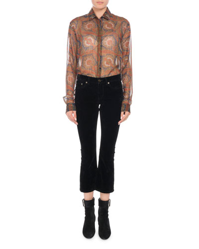 Long-Sleeve Button-Front Metallic-Paisley Silk Shirt and Matching Items