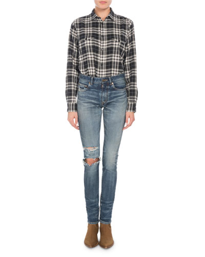 Button-Down Long-Sleeve Plaid Flannel Shirt and Matching Items