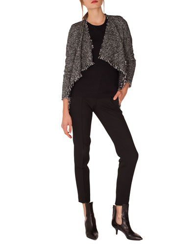 Open-Front Long-Sleeve Tweed Jacket w/ Fringe Details and Matching Items
