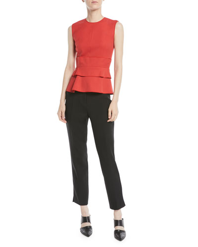 Gabardine Sleeveless Ruffle Peplum Top  and Matching Items