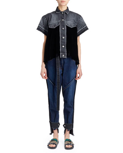 Short-Sleeve Button-Down Swing Velvet & Denim Shirt and Matching Items