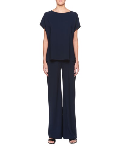 Idie Round-Neck Short-Sleeve Crepe Top and Matching Items