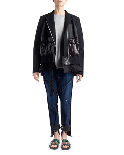 Stand-Collar Zip-Front Coat Coat with Puffer Combo and Matching Items
