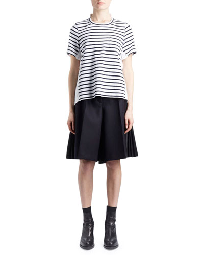 Crewneck Short-Sleeve Striped Cotton Top and Matching Items
