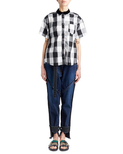Short-Sleeve Button-Down Check Swing Top w/ Pleated Back and Matching Items