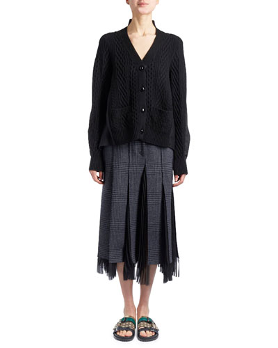 V-Neck Button-Front Cable-Knit Cardigan with Combo Sides and Matching Items