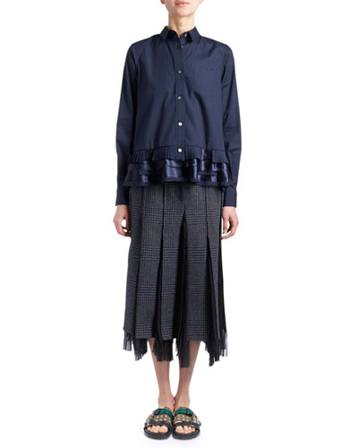 Long-Sleeve Button-Down Poplin Shirt w/ Lace Hem and Matching Items