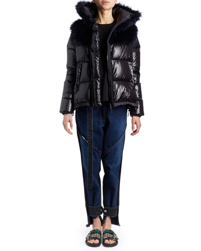 Zip-Front Nylon Puffer Jacket wit Faux-Fur Hood and Matching Items