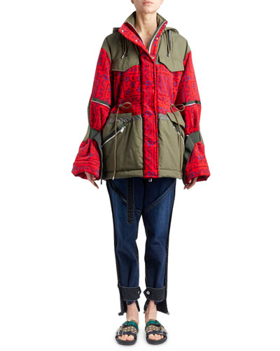 Hooded Bandana-Motif Two-Tone Oversized Quilted Coat and Matching Items
