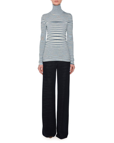 Turtleneck Long-Sleeve Wool Space-Dye Sweater and Matching Items