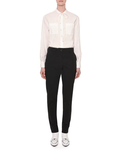 Long-Sleeve Tie-Neck Button-Front Cotton Shirt and Matching Items