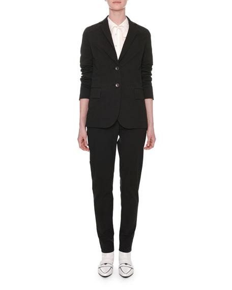 Long-Sleeve Tie-Neck Button-Front Cotton Shirt
