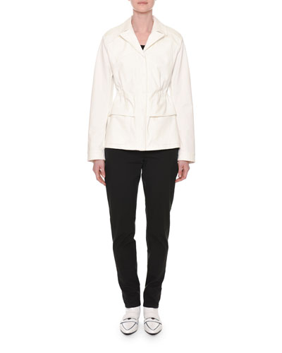 Notched-Collar Button-Down Peplum Jacket and Matching Items