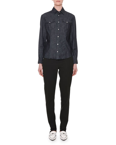 Long-Sleeve Button-Down Denim Shirt and Matching Items