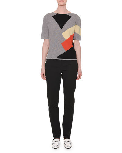 Short-Sleeve Multicolor Colorblock Cashmere Knit Sweater and Matching Items