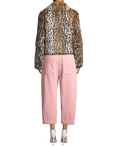 Leopard-Print Zip-Front Cropped Jacket