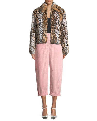 Leopard-Print Zip-Front Cropped Jacket and Matching Items