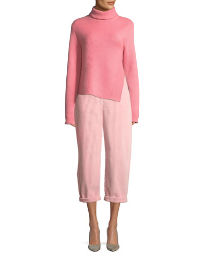 Turtleneck Long-Sleeve Wool-Cashmere Sweater w/ Side Slit and Matching Items