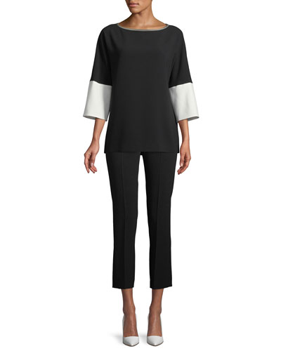 Round-Neck 3/4-Sleeve Crepe Blouse and Matching Items