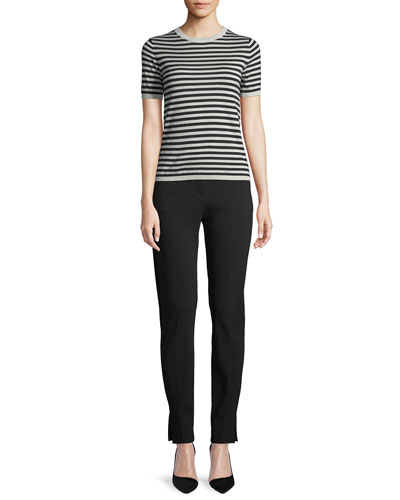 Gallia Crewneck Short-Sleeve Striped Silk-Cashmere Sweater and Matching Items