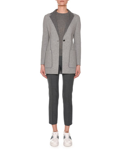 Notched-Lapel One-Button Cashmere Jacket and Matching Items