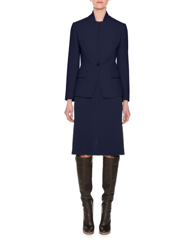 One-Button Notched-Collar Shaped Wool Crepe Jacket and Matching Items