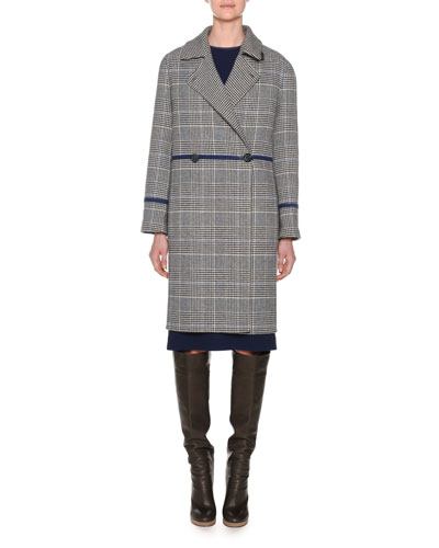 Double-Breasted Check Wool Cashmere Pea Coat and Matching Items