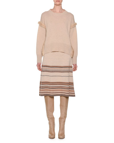 Cashmere Sweater with Mink Fur Ribbon Details, Camel and Matching Items