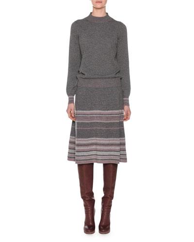 Long-Sleeve Multi-Stripe Metallic Knit Cashmere Sweater and Matching Items