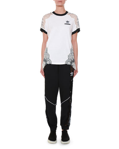 Crewneck Short-Sleeve Adidas T-Shirt w/ Lace Inset and Matching Items