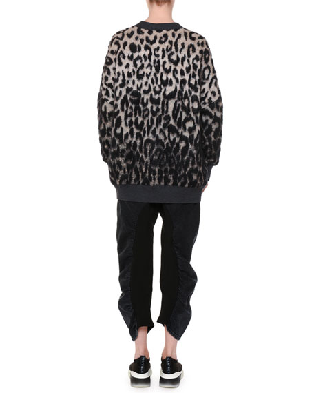 V-Neck Button-Front Oversized Leopard-Print Cardigan