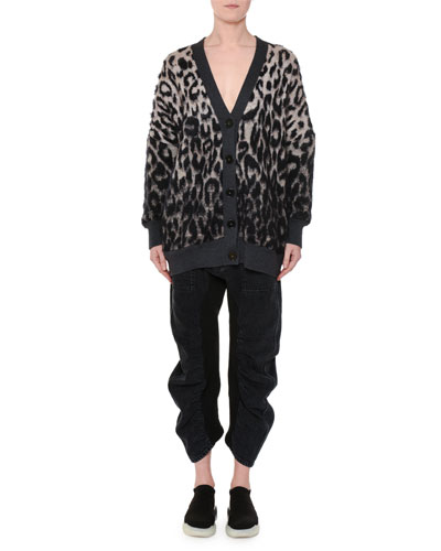 V-Neck Button-Front Oversized Leopard-Print Cardigan and Matching Items