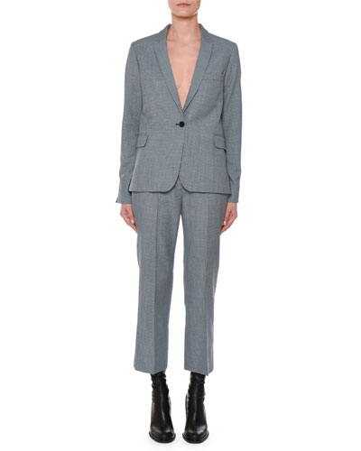 One-Button Two-Tone Check Wool Blazer with Piping Detail and Matching Items