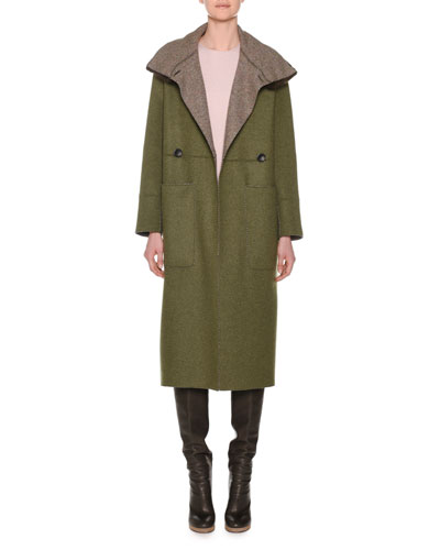 Double-Breasted Herringbone Cashmere Military Coat with Fur Collar and Matching Items