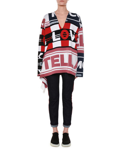 V-Neck Logo Intarsia Pullover Sweater w/ Fringe and Matching Items