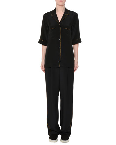 Short-Sleeve Button-Front Silk Pajama Top and Matching Items