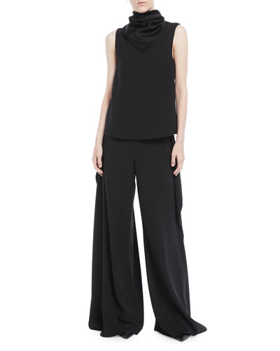 Scarf-Neck Sleeveless Crepe Back Satin Top and Matching Items